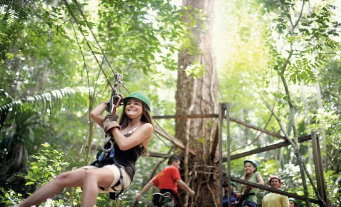 Een zipline in Belize