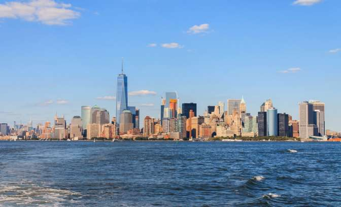 De skyline van downtown New York